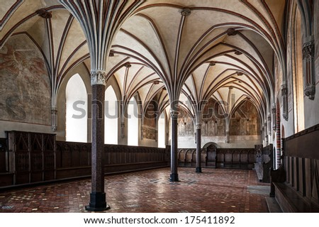 Gothic hall of the castle in Malbork.World Heritage List UNESCO.  - stock photo
