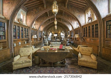 "Gothic library of Hearst Castle, ""America's Castle,"" San Simeon, Central California Coast - stock photo"