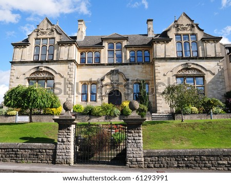 Gothic Mansion and Gardens - stock photo