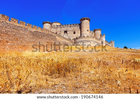 Gothic Mudejar castle in Belmonte.  Cuenca, Spain - stock photo