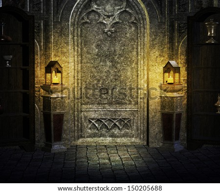 Gothic Palace Interior Background Stockillustration 150205688 ...