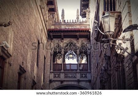 Gothic quarter in Barcelona, Spain - stock photo