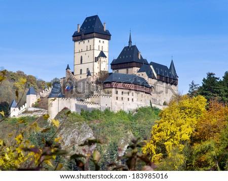 gothic royal castle Karlstejn near Prague, Central Bohemia, Czech republic, Europe - stock photo