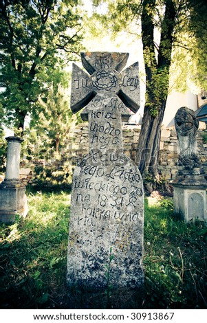 gothic scene with cross - stock photo