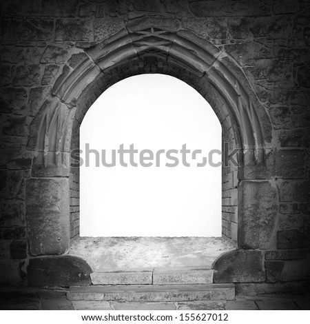 Gothic stone gate with space for your text.  - stock photo