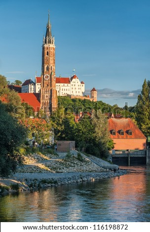 Gothic style tower and castle in Landshut, old bavarian town near Munich, Germany - stock photo