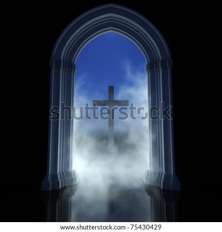 Gothic temple and cross. Religion abstract symbol a way to god - stock photo