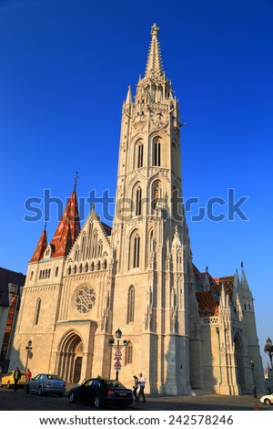 Gothic tower of St Matthias church in afternoon light, Budapest, Hungary - stock photo