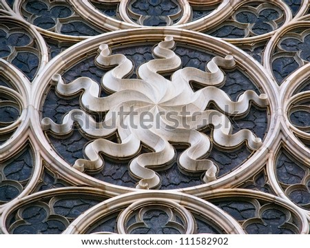 Gothic window (Duomo in Milan) - stock photo