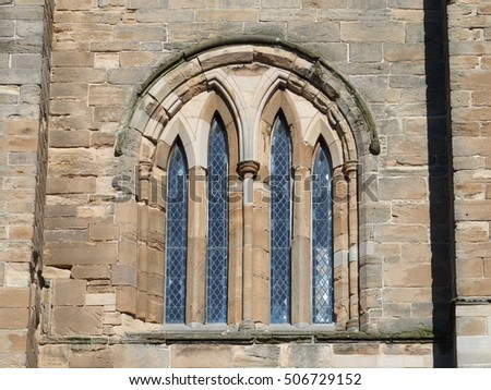 Gothic window of medieval cathedral: ELGIN, SCOTLAND / GREAT BRITAIN UK - AUGUST 2016.
