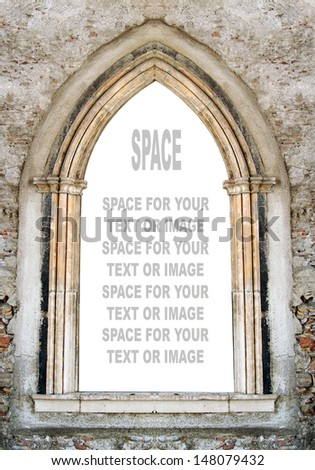 Gothic window with space for your text.  - stock photo