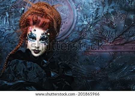 Gothic witch. Dark woman.Halloween picture. - stock photo