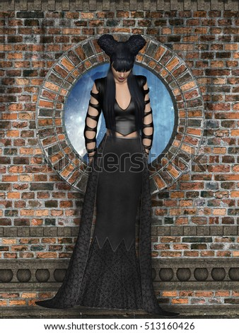 gothic woman in a wall 3D rendering