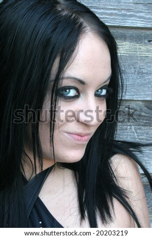 Gothic woman smiling