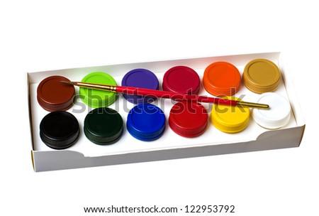gouache and paintbrush isolated on white - stock photo