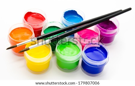 Gouache paint brush isolated on a white background