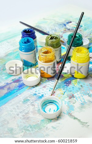 Gouache paints - stock photo