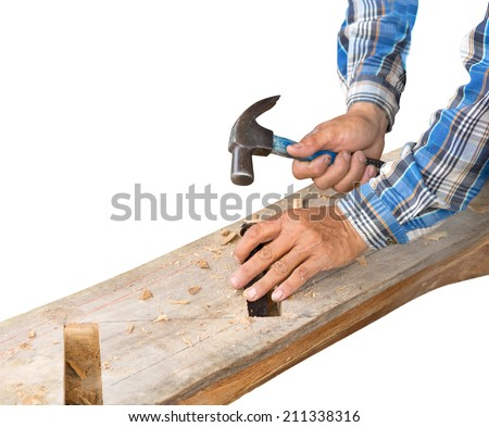 gouge wood chisel carpenter man tool hammer in hand working isolate on white background - stock photo
