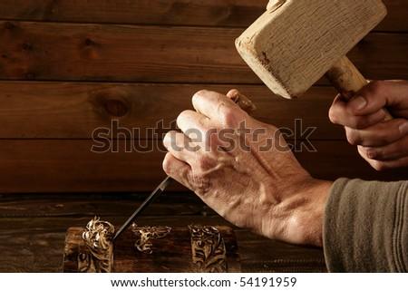 gouge wood chisel carpenter tool hand hammer craftsman - stock photo