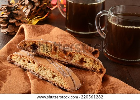 Gourmet almond toffee biscotti and coffee on a holiday table