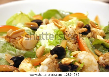 Gourmet caesar's salad with rock lobster meat