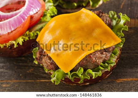 Gourmet Cheese Burger on a Pretzel Roll with Lettuce and Tomato - stock photo