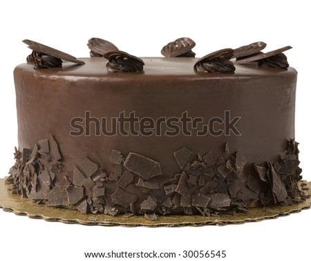 Gourmet Chocolate Cake with Chocolate Crumbs and Decorative Cookies - stock photo