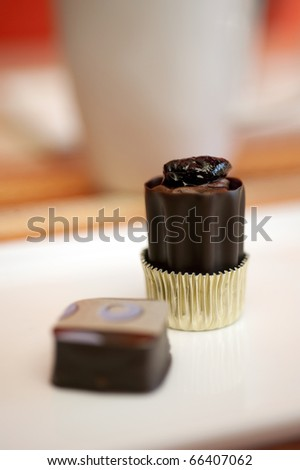 Gourmet chocolates photographed with a shallow dof lens setting. - stock photo