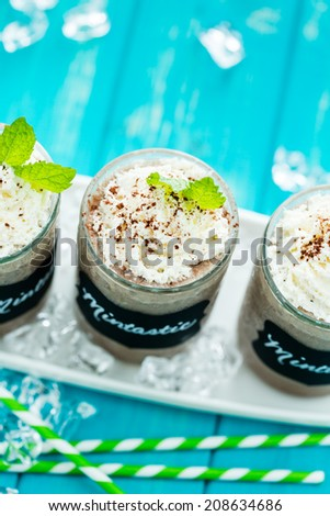Gourmet cold mintastic chocolate drink garnished with cocoa powder and mint.