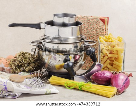 gourmet composition with pots and mediterranean food