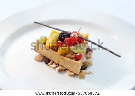 Gourmet dessert dish in fancy restaurant