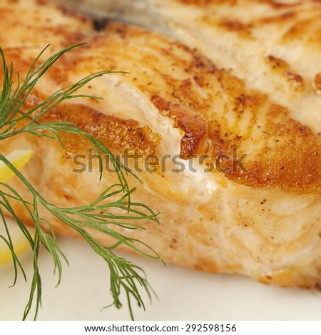 Gourmet Food. Salmon Fish Steak. Restaurant Food Macro - stock photo