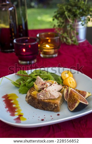 Gourmet French foie gras open sandwich made from the fattened liver of a duck or goose and served with candied dried orange slices on rye bread - stock photo