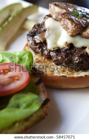 Gourmet Hamburger with Seared Duck Liver - stock photo