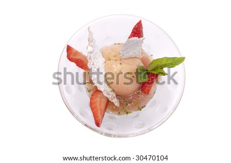 Gourmet ice cream in a bowl with strawberry isolated