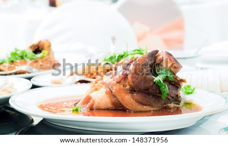 Gourmet Main Entree Course Chinese pork knuckle stew
