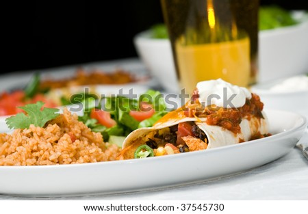 Gourmet Mexican taco, burrito or enchilada, with black beans, chicken, lettuce, tomatoes, cheddar cheese, salsa, sour cream, and jalepeno peppers, accompanied by salad, spanish rice and beer - stock photo