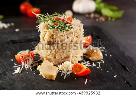 Gourmet Mushroom Risotto with Parmesan and Cherry Tomato