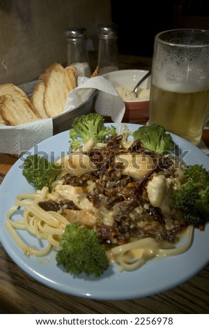 gourmet pasta chicken dinner in guatemala city - stock photo