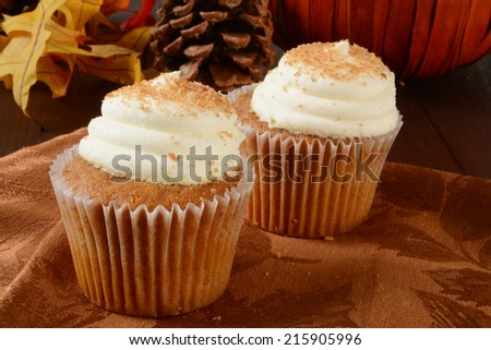 Gourmet pumpkin cupcakes, a holiday snack, with a pumpkin and pine cones on a table - stock photo