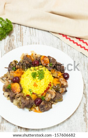 Gourmet Venison goulash. Viewed from above, Copy space composition - stock photo