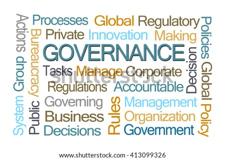 Governance Word Cloud on White Background - stock photo