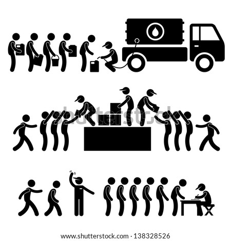 Government Helping Citizen Water Food Stock Supply Community Relief Support Stick Figure Pictogram Icon - stock photo