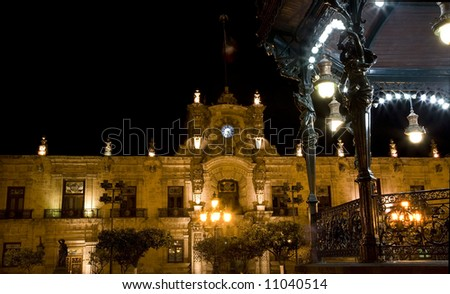 Government Palace Guadalajara Mexico at Night Taken from Park with Band Stand Resubmit--In response to comments from reviewer have further processed image to reduce noise and sharpen focus. - stock photo