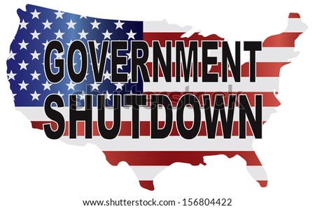 Government Shutdown Text Outline with American USA Flag in Country Map Silhouette Raster Illustration - stock photo