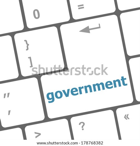 government word on keyboard key, notebook computer button