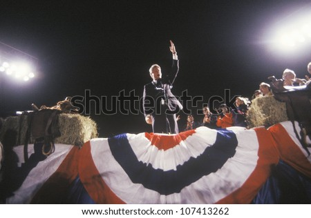 Governor Bill Clinton addresses a crowd at a Texas campaign rally in 1992 on his final day of campaigning in Ft. Worth, Texas - stock photo