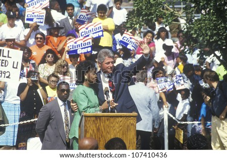 Governor Bill Clinton and Congresswoman Maxine Waters at the Maxine Waters Employment Preparation Center in 1992 in So. Central, LA