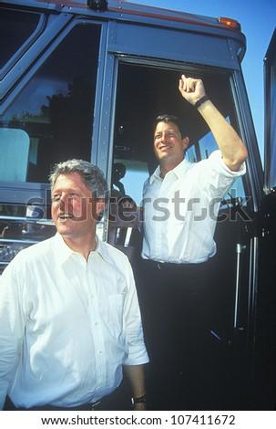 Governor Bill Clinton and Senator Al Gore on the Clinton/Gore 1992 Buscapade Great Lakes campaign tour - stock photo