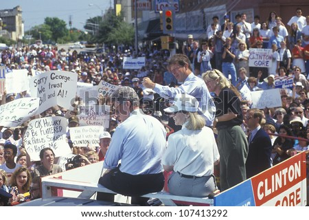 Governor Bill Clinton, Senator Al Gore, Hillary Clinton and Tipper Gore on the 1992 Buscapade campaign tour in Corsicana, Texas - stock photo